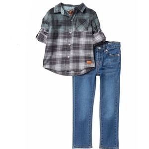 7 FOR ALL MANKIND Boys 2T Plaid Shirt/Jean Set NEW